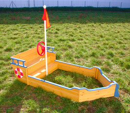 Sandkasten Sandkiste in Bootsform 94,5 x 190 cm