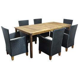 Polyrattan Gartenmöbel Essgruppe Sitzgruppe schwarz
