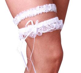 Zwei elastische Strumpfbänder in weiß