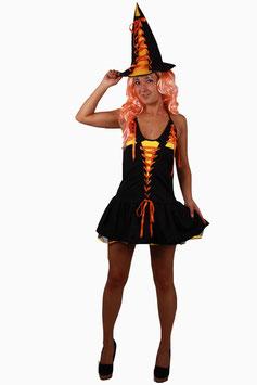 Bezaubernde Hexe im kessen Minikleid mit Hut Größe S = 32-34