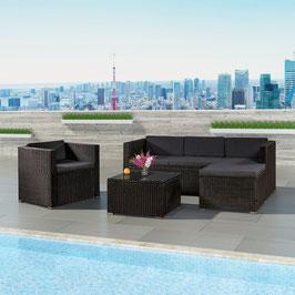 Polyrattan Lounge/Sitzgruppe in schwarz