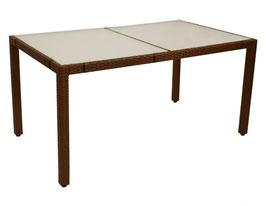 Gartentisch Tisch Polyrattan mit Metallgestell und Glasplatte in braun               150 x 90 cm