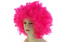 Wilde Afro Perücke aus Kunstfaser in pink