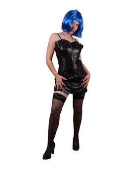 Minikleid in Lederoptik schwarz