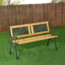2 Sitzer Gartenbank aus lackiertem Holz und Gusseisen