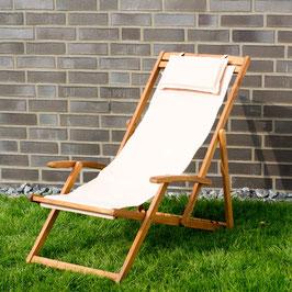Relax Sonnenliege Akazien Holz verstellbar in beige