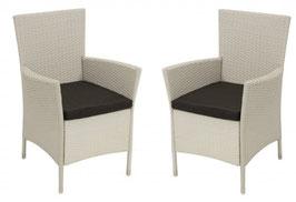 2 Stück Polyrattan Sessel in weiß
