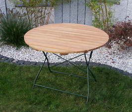 Klapptisch Holz Gestell dunkelgrün pulverbeschichtet Durchmesser 100cm