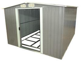 Gerätehaus aus Metall 312 x 257 x 177,50 cm grau/weiß