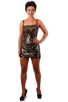 Sexy Minikleid in schwarz mit raffinierter Pailletten Glanzoptik