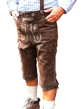 Lederhose aus Rindsleder in dunkelbraun Bundweite 80-83 cm