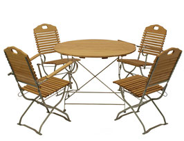 Sitzgruppe  5 teilig Holz Robinie Gestell verzinkt