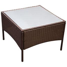 Beistelltisch Tisch Polyrattan mit Milchglassplatte 58 x 58 cm