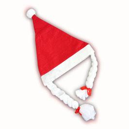 Weihnachtsmütze Nikolausmütze Mütze mit Zöpfen und Bommel