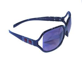 Stilvolle Sonnenbrille mit Schmuckbügeln und Verlaufsgläsern in schwarz-rot