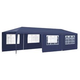 Partyzelt Gartenzelt in blau mit Seitenwänden 3 x 9 m