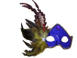 Venezianische Maske mit Pailletten und Kunstfedern verziert in blau