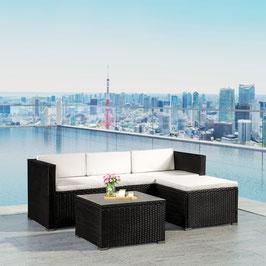 Polyrattan Lounge  Sitzgruppe in schwarz/weiß