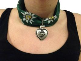 Edelweiß Halstuch mit Herzanhänger in grün