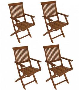 Vier Gartenstühle Akazienholz geölt klappbar