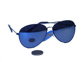 Pilotenbrille in schwarz mit silber verspiegelten Gläsern