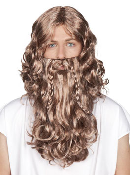Prophet Jesus Wikinger Perücke mit langem Bart