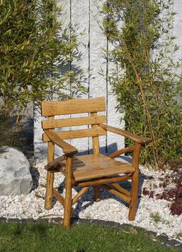 Knüppelholz Stuhl massiv Eiche dunkel