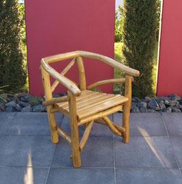 Knüppelholz Stuhl massiv Eiche hell