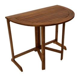 Gartentisch Klapptisch Akazie Holz halbrund 90 cm