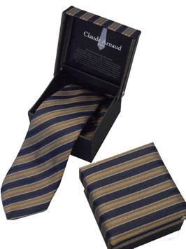 Edle Krawatte Schlips in attraktiver Geschenkbox in blau-braun