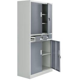 Aktenschrank Büro Office zweifarbig mit vier Türen und zwei Schubladen aus Metall  90 x 180 cm