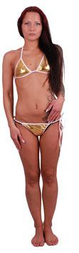 Bikini Sonnenbikini Glanzoptik in gold-weiß