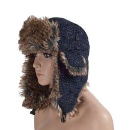 Wintermütze Mütze in schwarz-blau Größe 58