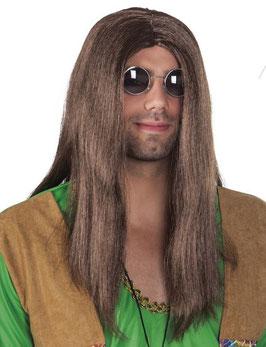 Hippie Perücke + Lennon Brille + Peace Kette