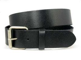 Zeitloser Ledergürtel mit Rollschnalle in schwarz