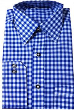 Trachtenhemd kariert Langarm in blau