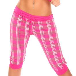 Caprihose Karo Pants mit Kordelzug in pink Größe 34 - 38