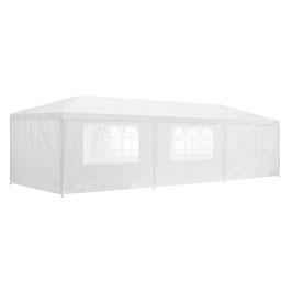 Partyzelt Gartenzelt in weiß mit Seitenwänden 3 x 9 m