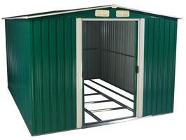 Geräte Haus Geräteschuppen aus Metall 259 x 257 x 177,5 cm grün/weiß