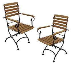 Zwei Stück Gartenstühle Teakholz mit Armlehnen