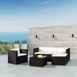 Polyrattan Sitzgarnitur / Lounge in schwarz