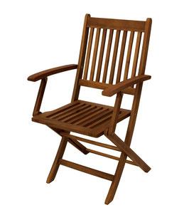 2 Stück Klappstühle Gartenstühle mit Armlehnen Akazien Holz