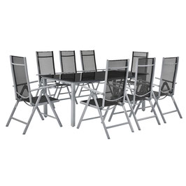 Klappbare Gartengarnitur Sitzgruppe Alu / Metall 9-teilig