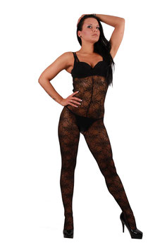 Catsuit im Spinnennetz Design ouvert Jumpsuit Overall in schwarz