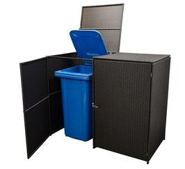 2er Polyrattan Mülltonnenbox Mülltonne bis 120Liter