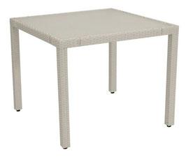 Gartentisch Polyrattan weiß 90 x 90 cm
