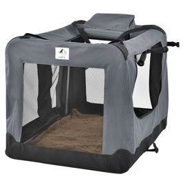 faltbare Hundetransportbox in dunkelgrau 58 x 82 x 58 cm