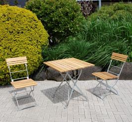 klappbare Sitzgruppe Holz Robinie 3-teilig Gestell verzinkt