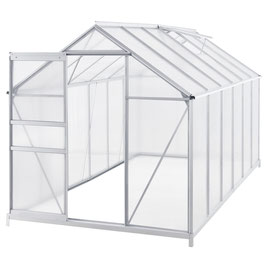 Gewächshaus Aluminium incl. Fundament 190 x 370 cm