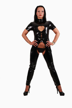 Catsuit in Lackleder Optik Jumpsuit Overall in schwarz